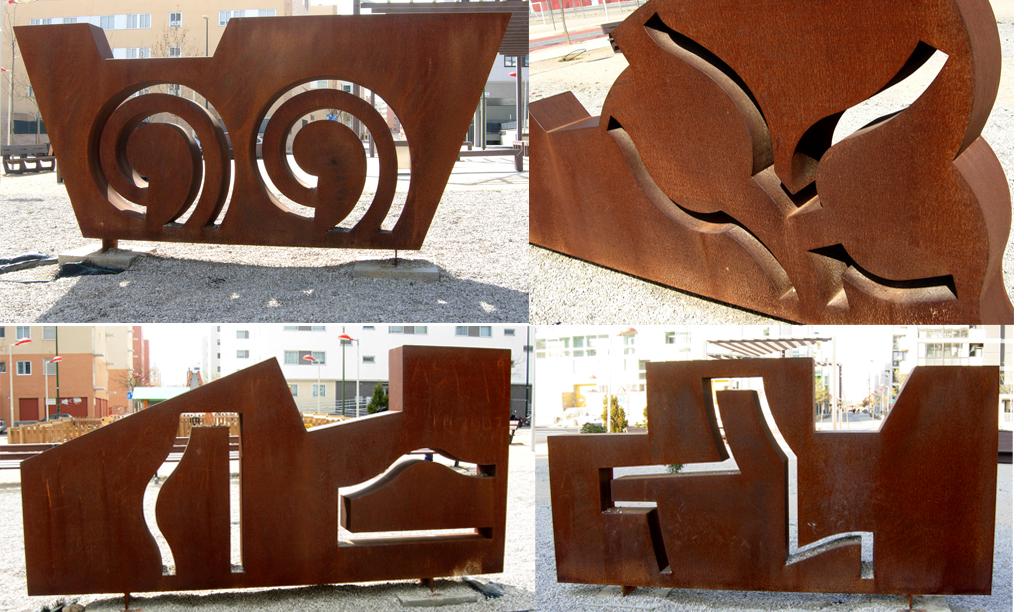 cuatro elementos agua tierra fuego y aire acero corten para santiago arranz escultor